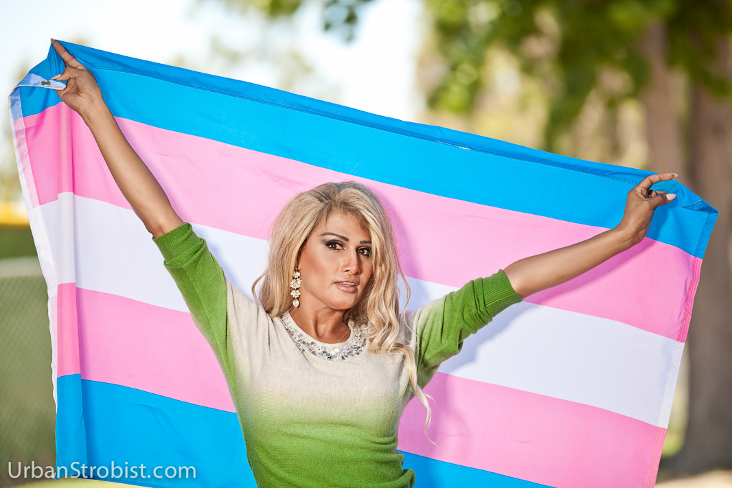Latina with Transgender Flag